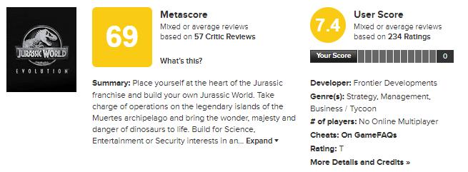 Jurassic World Evolution metacritic